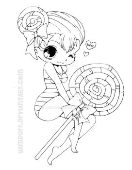 Lollipop Girl Lineart by YamPuff