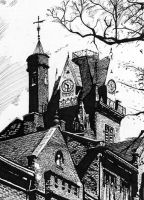 Pen and Ink Old Main by Spider-Shane2003