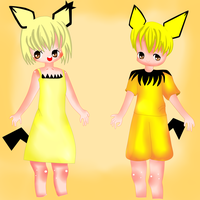 spiky eared pichu and shiny pichu gijinka by yumethenekomata
