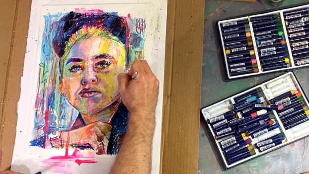 Timelapse Oil Pastel Female Portrait by paulypants