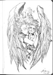 Request: Hel-Weird - Angel and a Woman by CeruleanHeavens