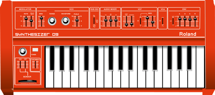 Red Roland SH-09 Synthesizer Vector by ytz