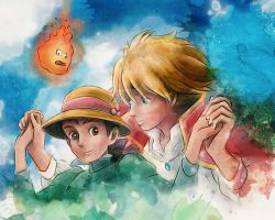 Howl and Sophie from Howl's Moving Castle Painting by studiomuku