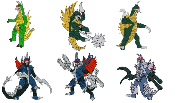 gigan forms and incarnations by NovaBlueGoji