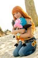 Nami Hugs Chopper, One Piece Cosplay by firecloak