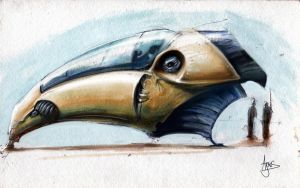 water color spaceship by coldshutter