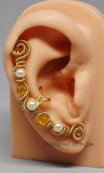 Gold, Topaz Crystal and Pearl Ear Cuff by Gailavira