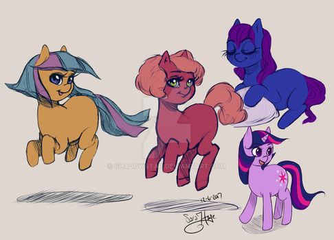 Pony Sketches by Shadowstar