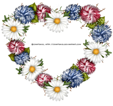 Daisy Heart Red White and Blue by Craftykid