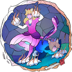 Peach and Rosalina - Fire Cats! by CatCouch