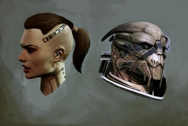 Mass Effect: Jack and Garrus by touchedbyred