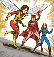 Vintage-Style Wasp, Scarlet Witch, Invisible Girl by TheCosmicBeholder