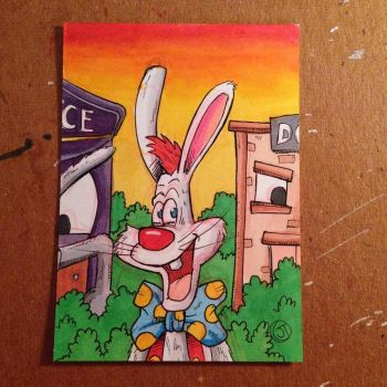 Roger Rabbit sketch card by johnnyism