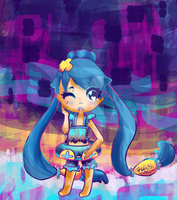 Saronia the Chinchou - Abstract Painterly Chibi