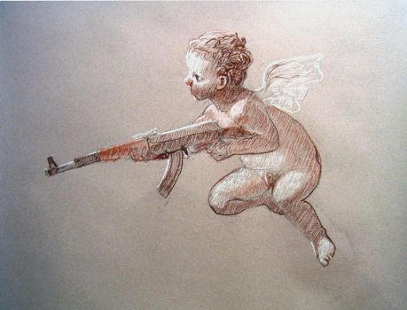 The Cupid with a Gun drawing by valkea
