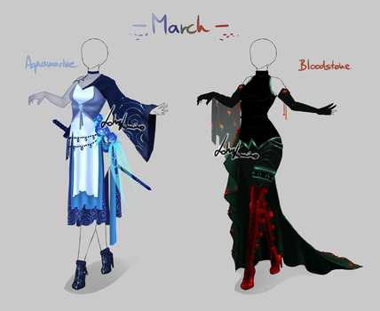 Outfit design - Birthstones - March - closed by LotusLumino