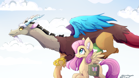 Discord And Fluttershy: Flying as Friends by ArtistoftheGeeks
