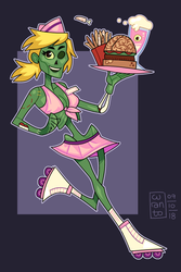 Zombie Waitress by curantodraws