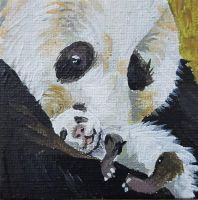 Tiny Panda Parent Painting by DorysStories