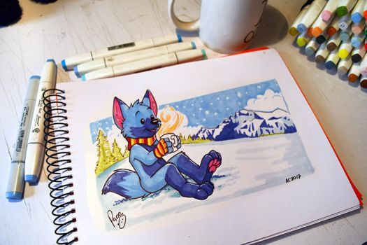 Sitting in the snow by pandapaco