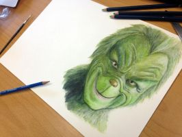 Pencil Drawing of the Grinch by AtomiccircuS
