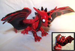 Red Swirl Dragon by ByToothAndClaw