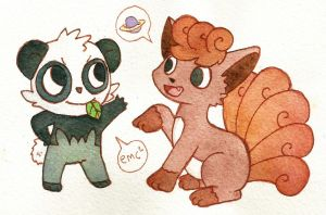 Pancham and Vulpix