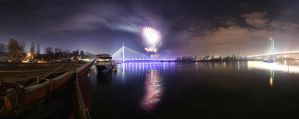 Belgrade new year  fireworks panorama by BorisMrdja