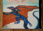 Blue Wyvern - Acrylic painting in Sketchbook by BlackPantiesaurus