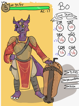 Character Sheet: Bo The Dragonbard by greywardenned