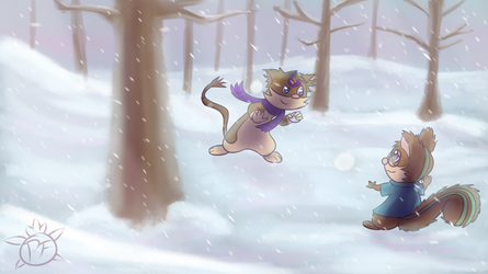 Agner and Veasel snowball fight by Fennie-Art