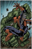 Spidey Versus Hulk in color by Roderic-Rodriguez