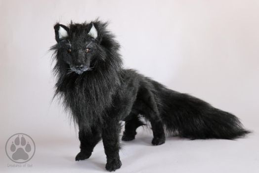 SOLD Black wolf commission poseable art doll by CreaturesofNat