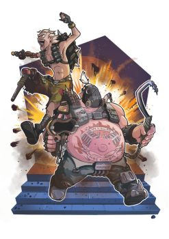 [Fan-art] Junkrat and Roadhog by SlothyAmphawa