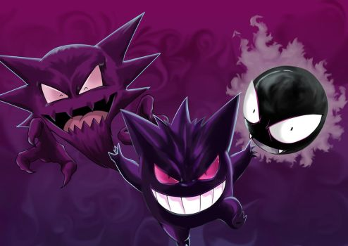 Gastly Haunter y Gengar by shukei20