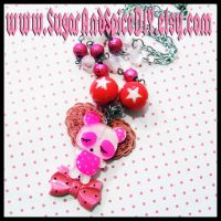 Pink Panda Necklace by wickedland