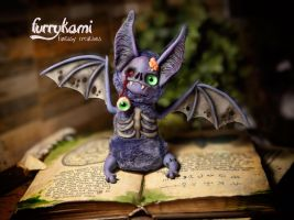 Handmade toy zombie bat by Furrykami-creatures