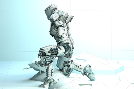 Mech Android Warrior Wireframe 1 3d by cytherina