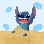 Stitch and his Castle by drawingwolf17