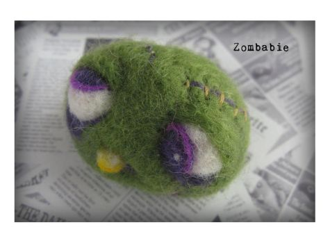 Zombabie- Baby Zombie Needle Felted Brooch by Unfairytales