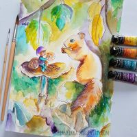Autumn Friends - 4 Watercolor Challenge by frankekka