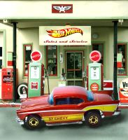 57 Chevy Vintage Hot Wheels Gas Station by happymouse666