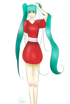 Red Dress.. Miku by koko-manga