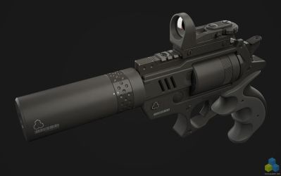 SciFi Snubnose Revolver - Shot2 by pixelquarry