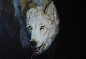 Wolf in Acrylics :D by cottondragon