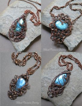 Four Labradorite and Copper Pendants - Blue Fire by blackcurrantjewelry