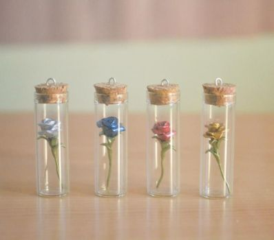 Roses in tubes by PumpkinQuartz