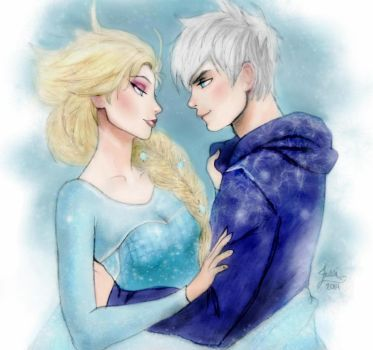 Elsa And Jack Frost Colored by Imaginary2095