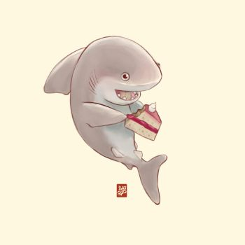 Cute shark having cake by Sheharzad-Arshad