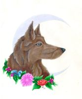 Wolf with the moon by Skychaser